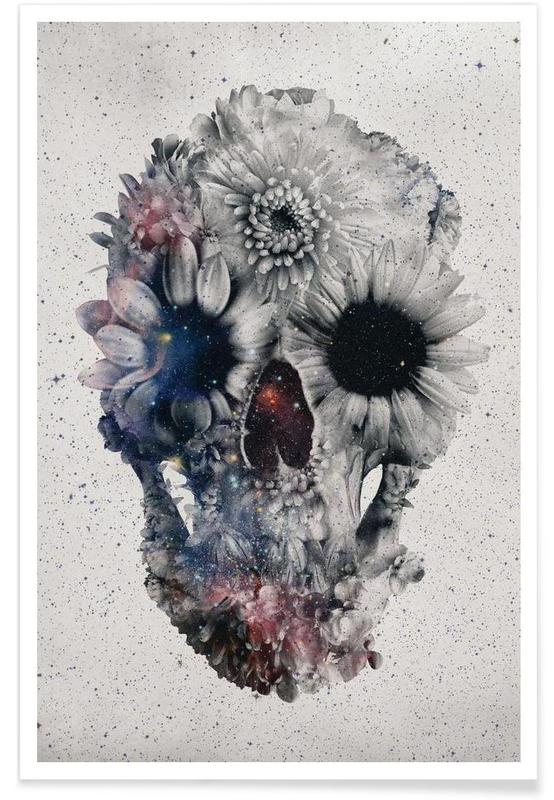 Floral skull II affiche