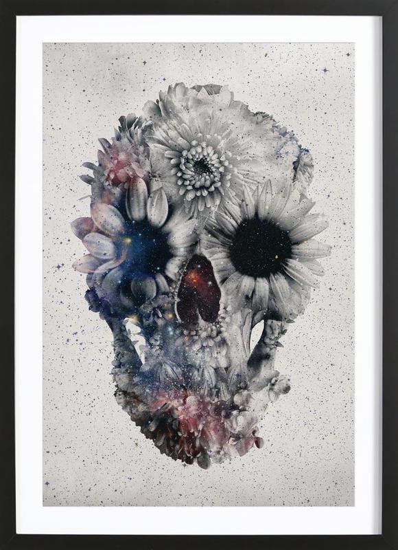 Floral skull II -Bild mit Holzrahmen