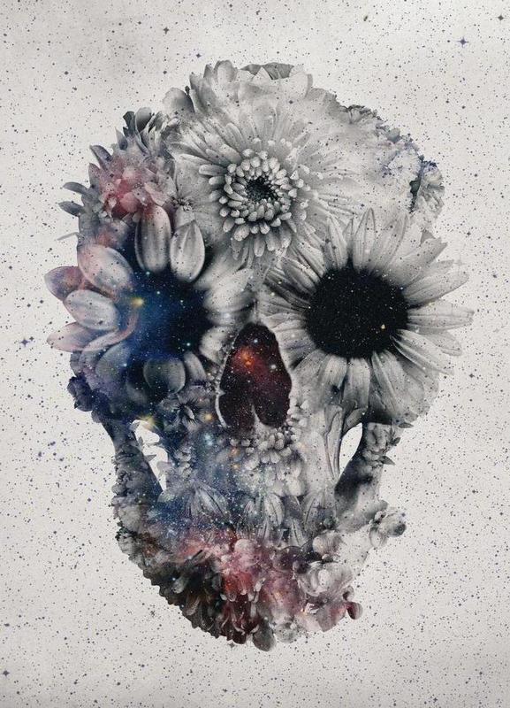 Floral skull II toile