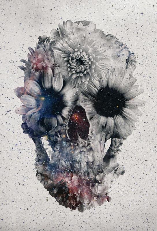 Floral skull II acrylglas print