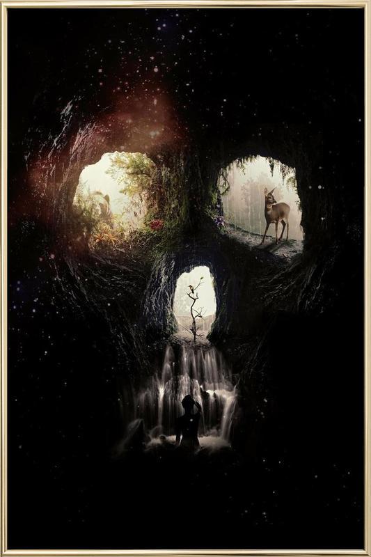 Cave Skull poster in aluminium lijst