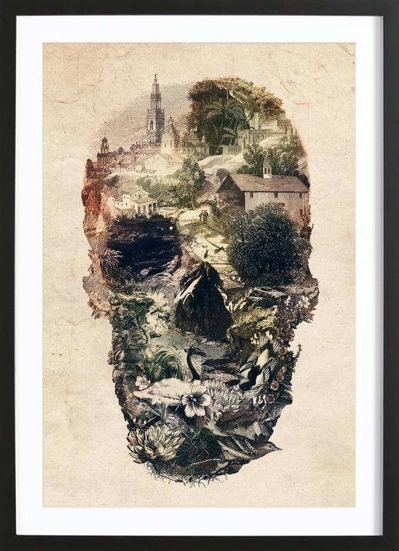 Skull Town -Bild mit Holzrahmen