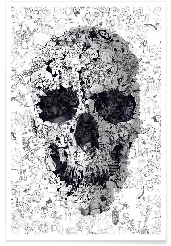 Noir & blanc, Crânes, Doodle Skull BW affiche