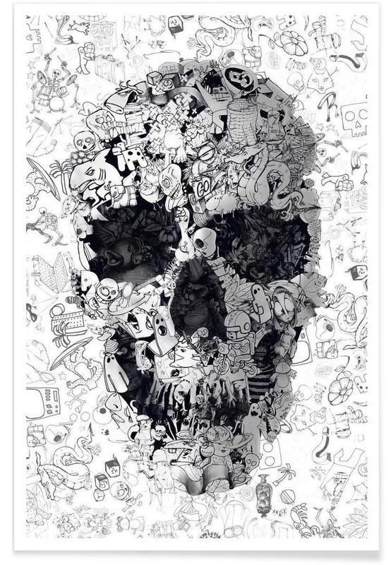 Doodle Skull BW -Poster