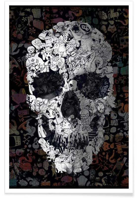 Schedels, Doodle Skull poster