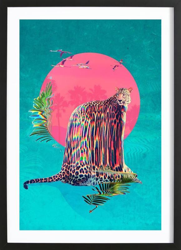 Jaguar affiche sous cadre en bois
