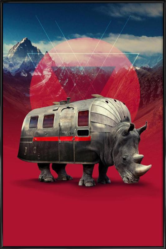 Rhino -Bild mit Kunststoffrahmen
