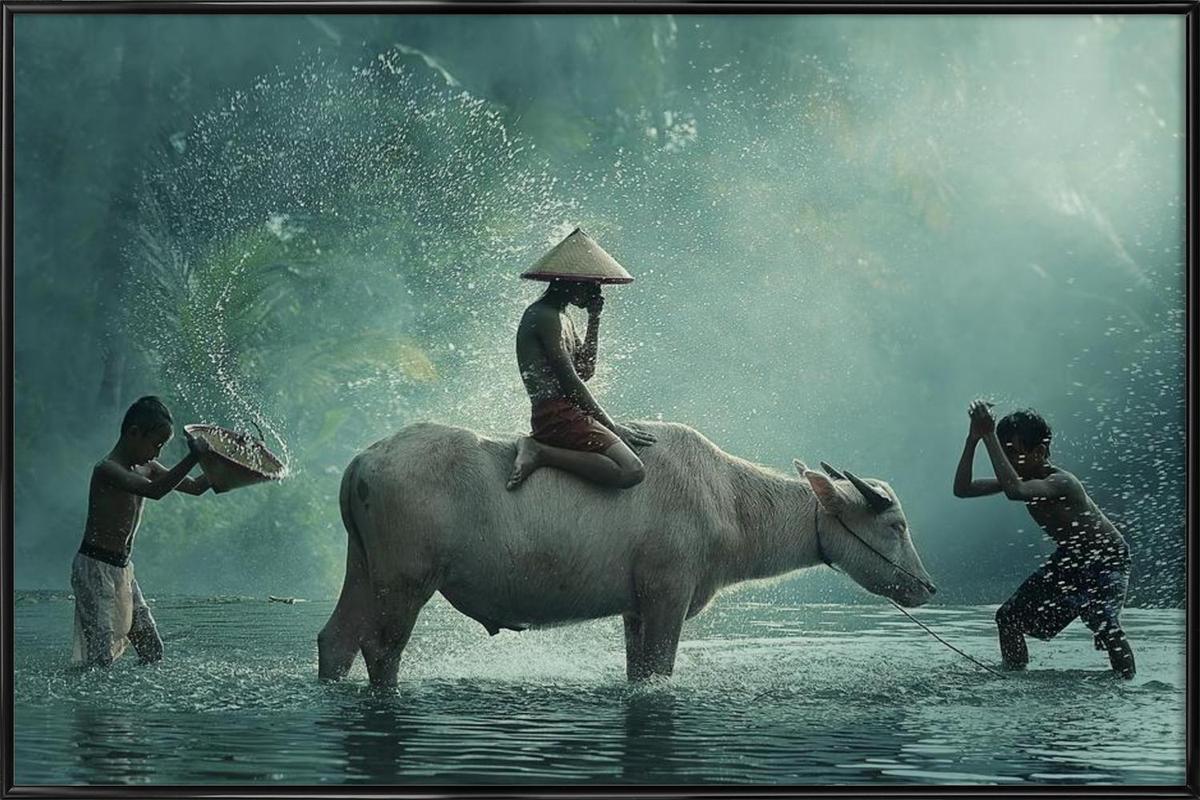 Water Buffalo - Vichaya -Bild mit Kunststoffrahmen