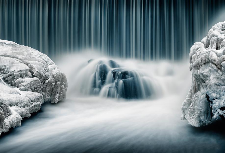 Icy Falls - Keijo Savolainen Aluminium Print