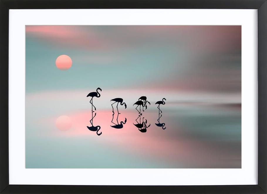 Family flamingos - Natalia Baras Framed Print