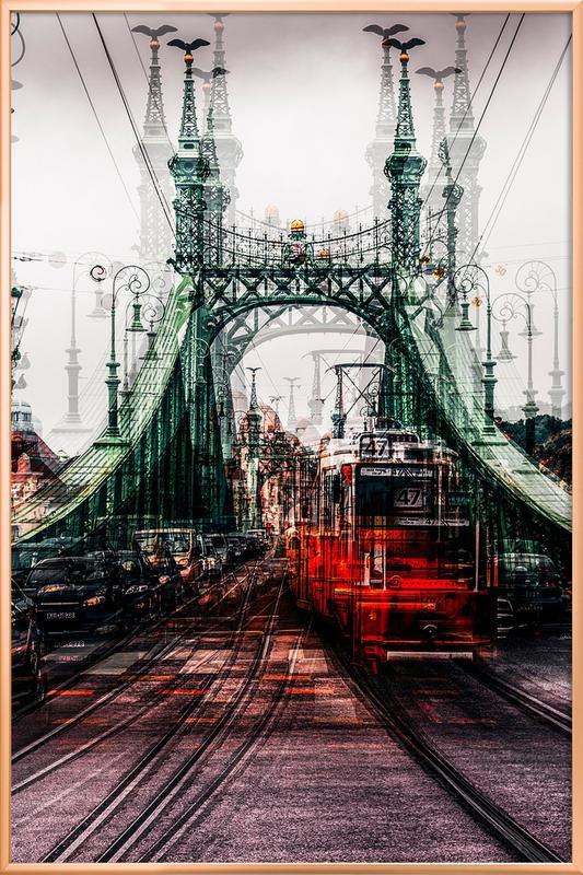 On The Tram - Carmine Chiriaco' poster in aluminium lijst