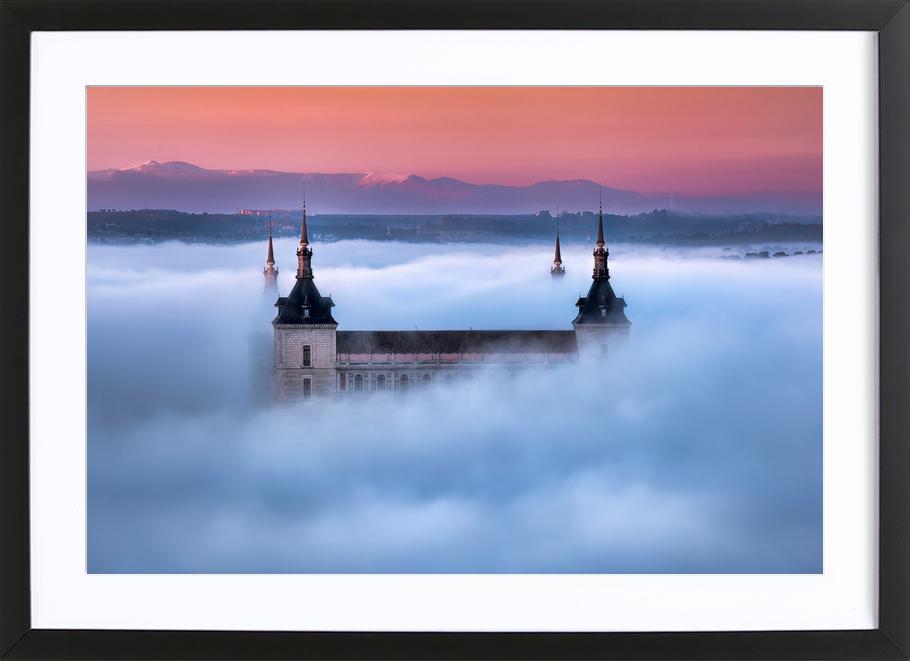 Toledo City Foggy Sunset - Jesús M. Garcia affiche sous cadre en bois