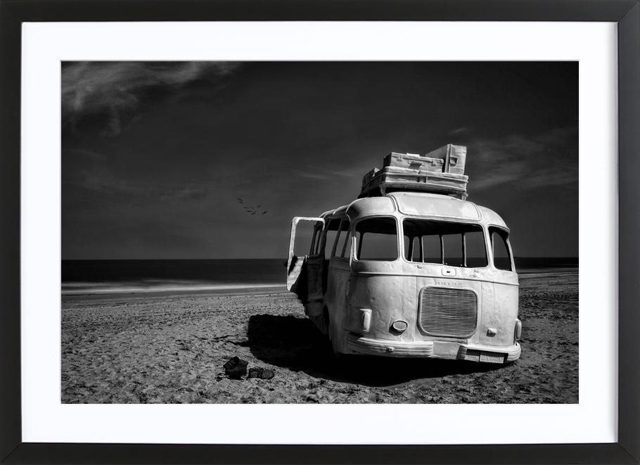 Beached Bus Framed Print