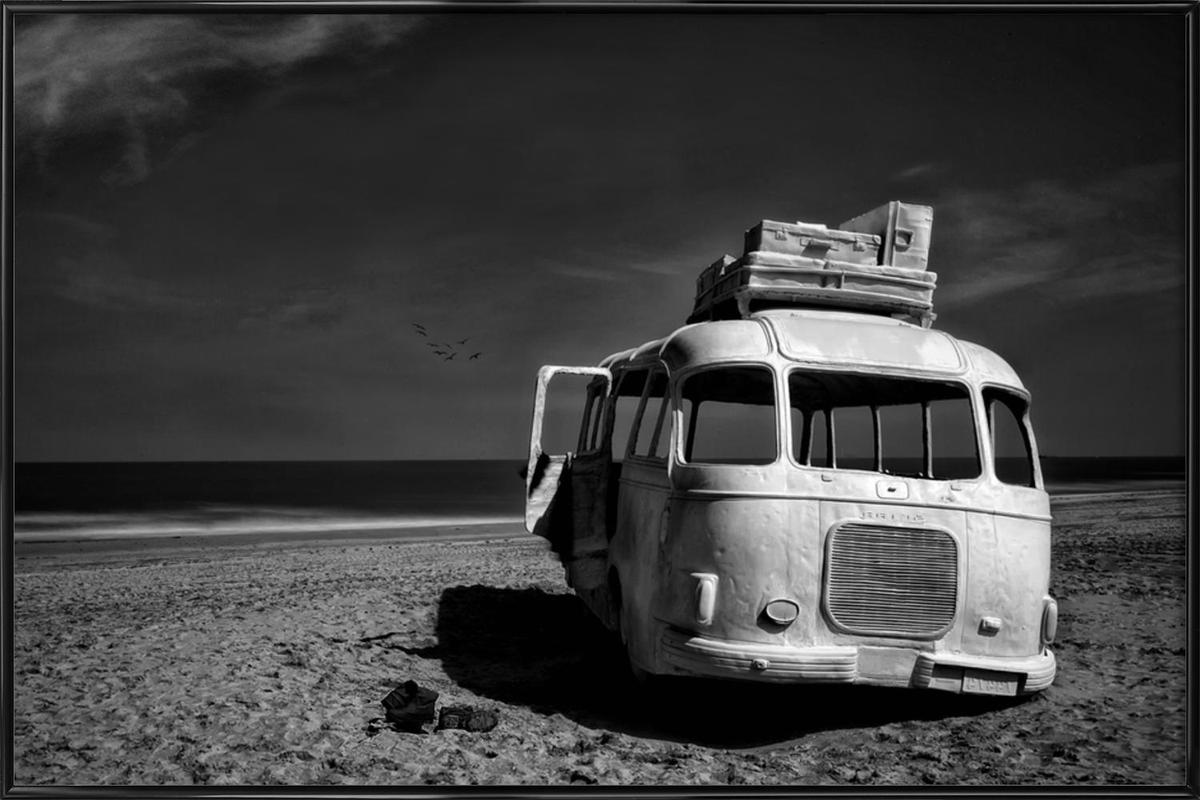 Beached Bus Framed Poster