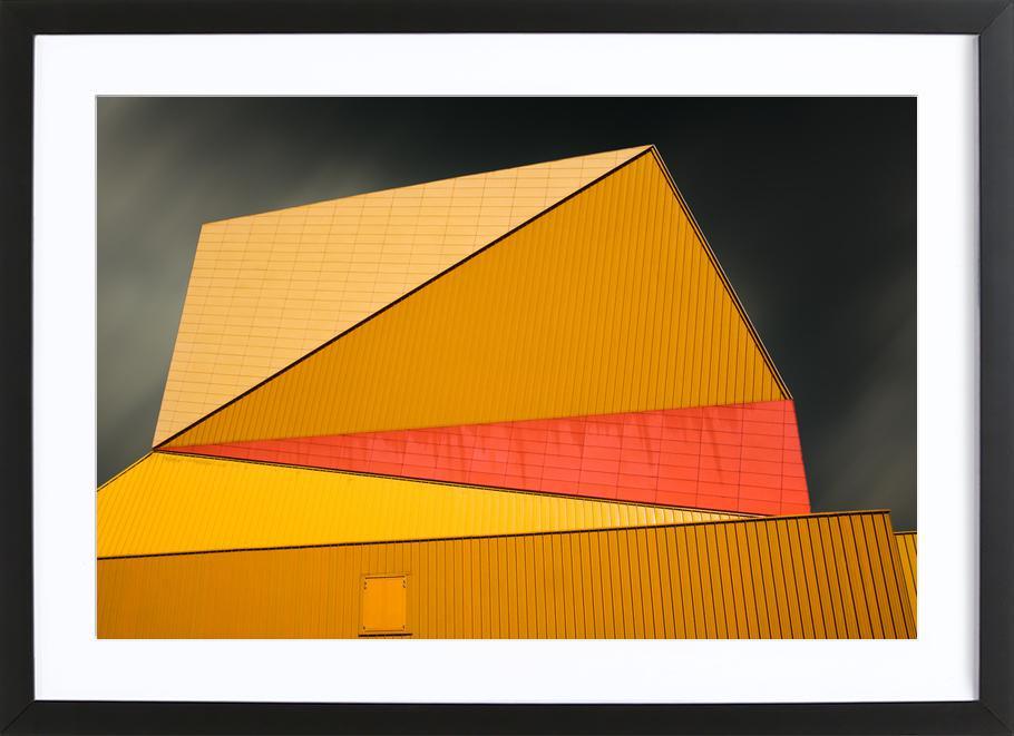 The Yellow Roof -Bild mit Holzrahmen