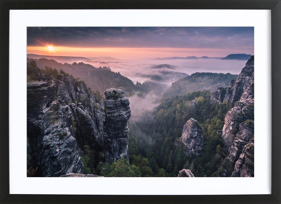 Sunrise on the Rocks -Bild mit Holzrahmen