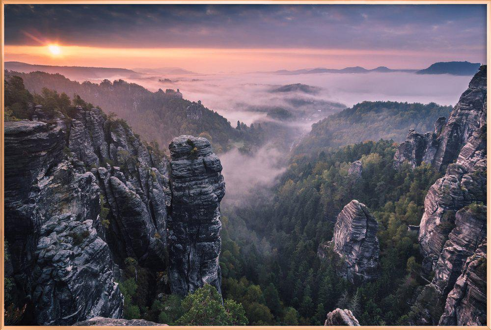 Sunrise on the Rocks -Poster im Alurahmen