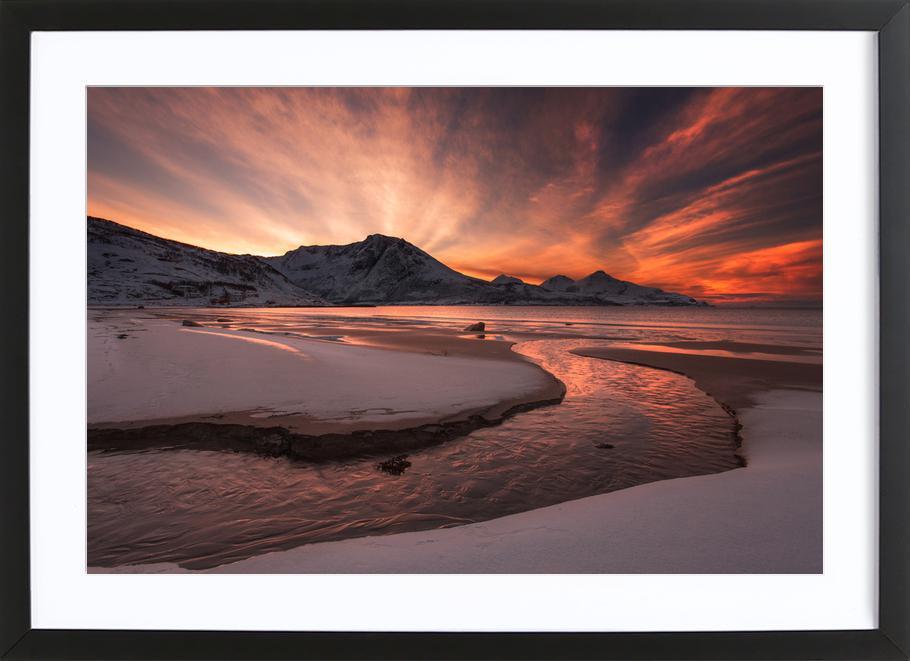 Golden Sunset -Bild mit Holzrahmen