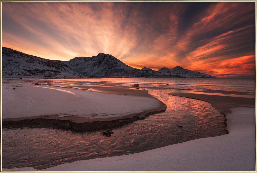 Golden Sunset -Poster im Alurahmen