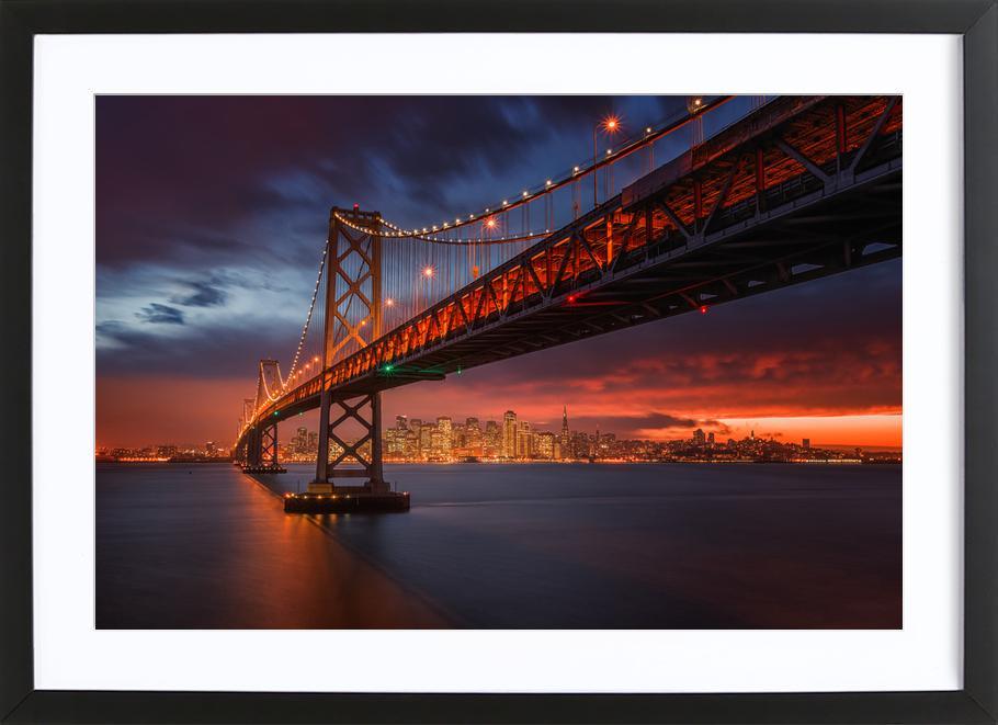 Fire over San Francisco -Bild mit Holzrahmen