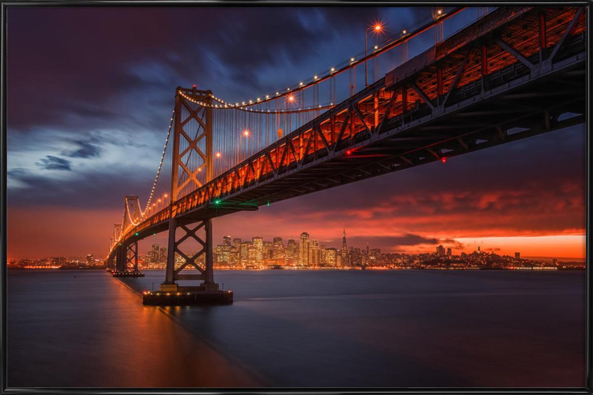 Fire over San Francisco -Bild mit Kunststoffrahmen