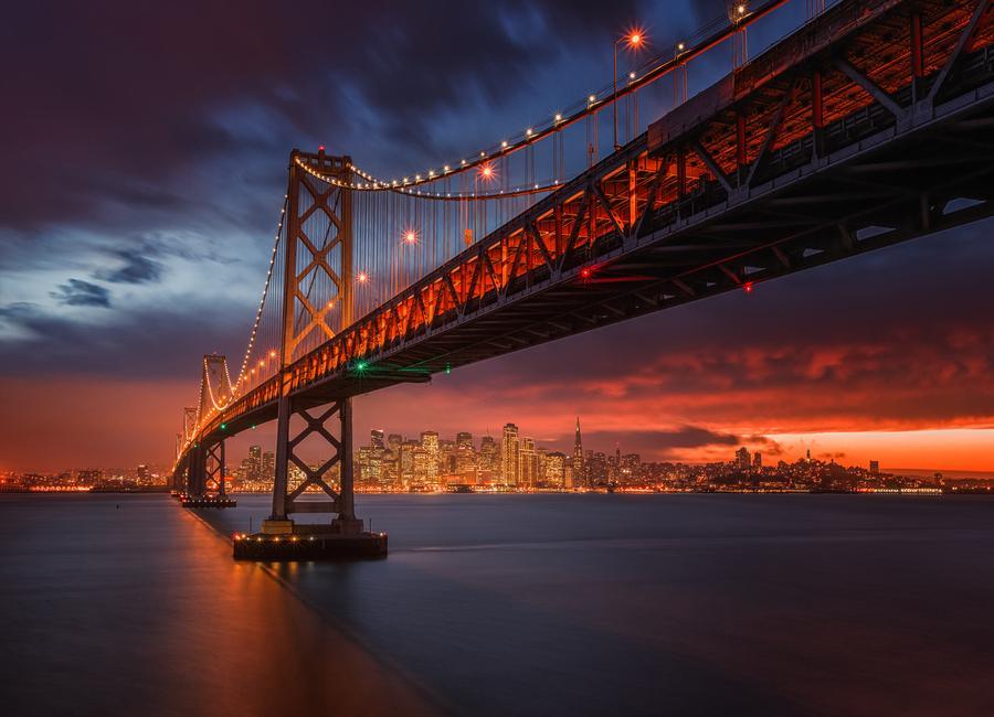 Fire over San Francisco -Leinwandbild