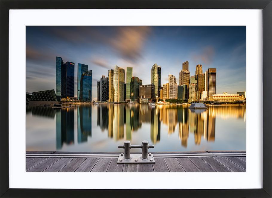 Golden Morning in Singapore -Bild mit Holzrahmen