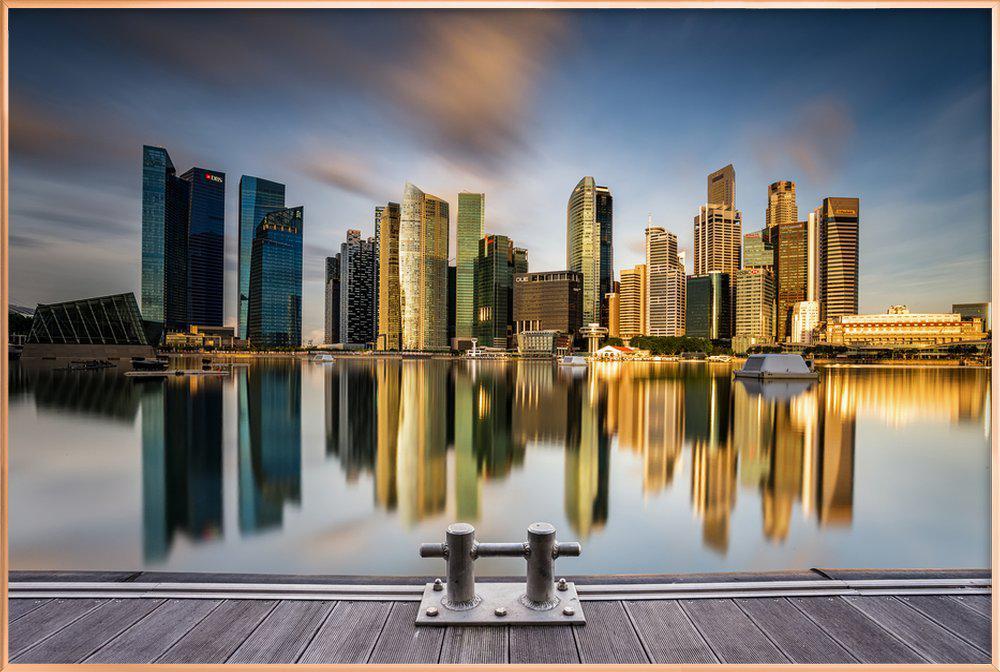 Golden Morning in Singapore -Poster im Alurahmen