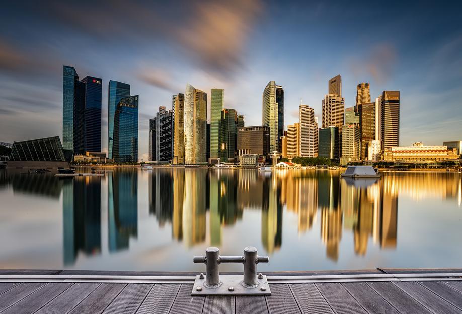 Golden Morning in Singapore Impression sur alu-Dibond