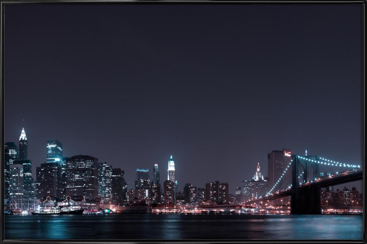 Manhattan Skyline and Brooklyn Bridge ingelijste poster