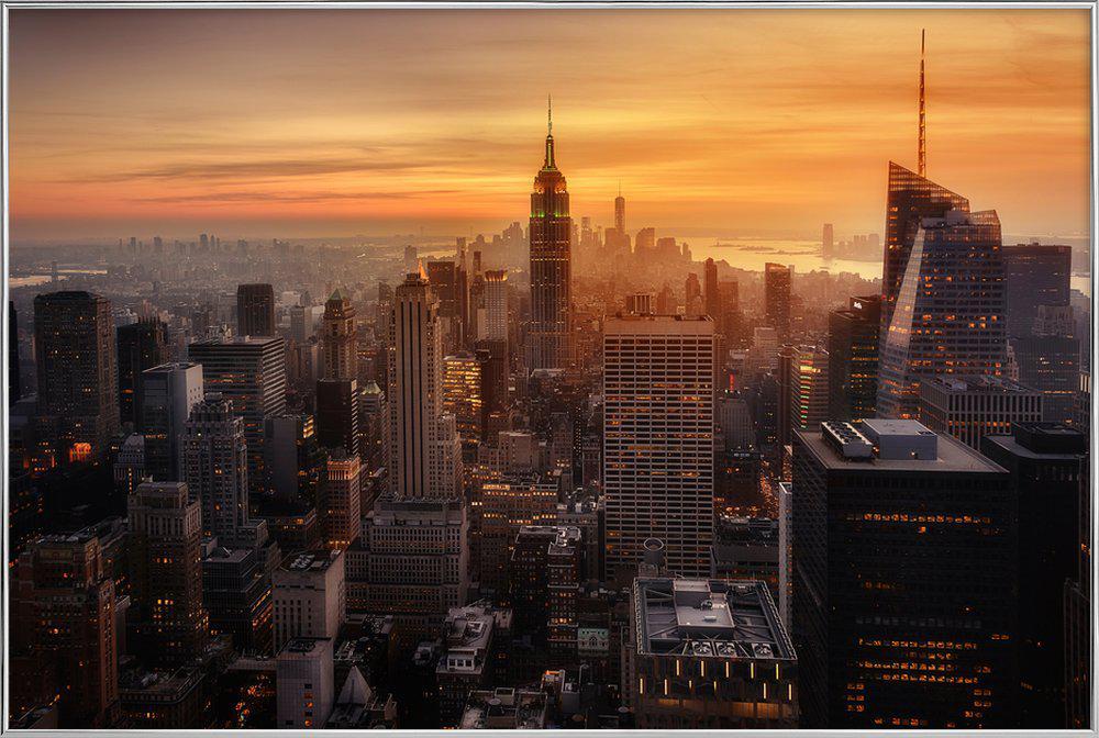 Manhattan's Light -Poster im Alurahmen