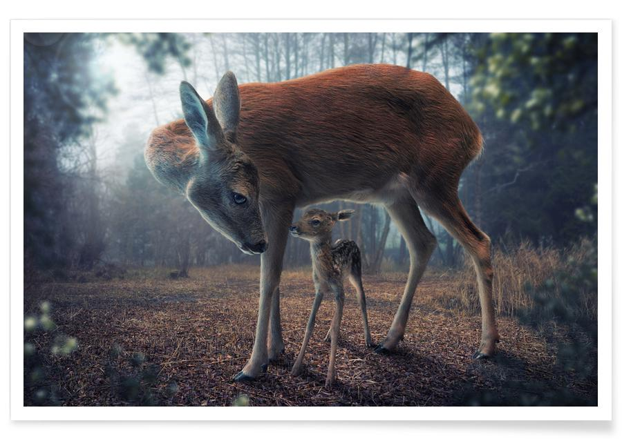 Mother and Fawn - John Wilhelm Poster