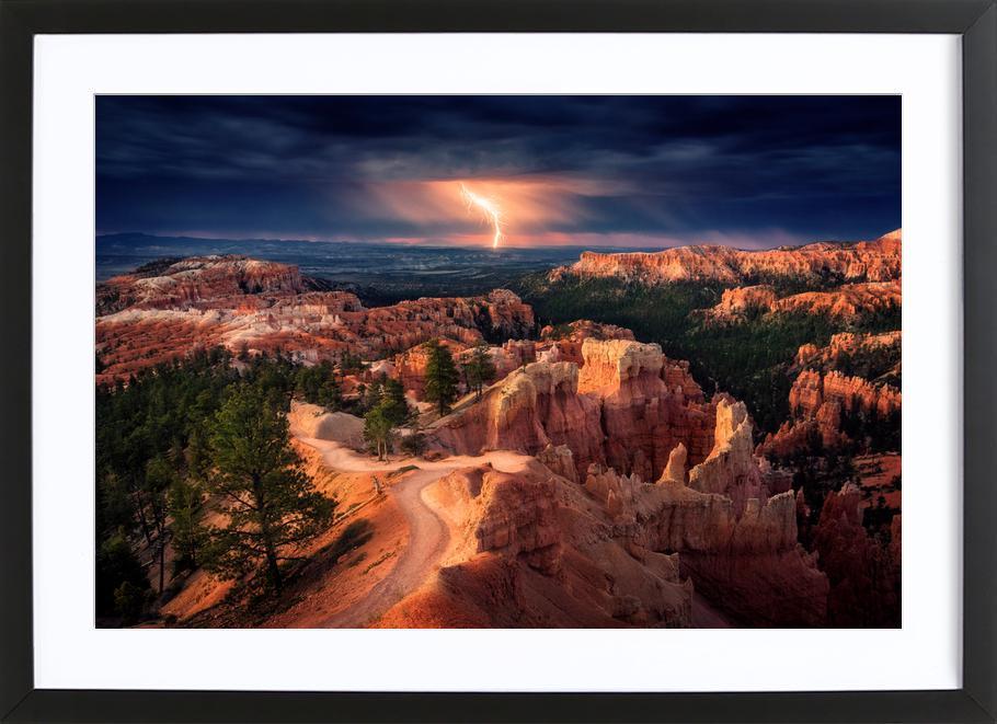 Lightning over Bryce Canyon - Stefan Mitterwallner affiche sous cadre en bois