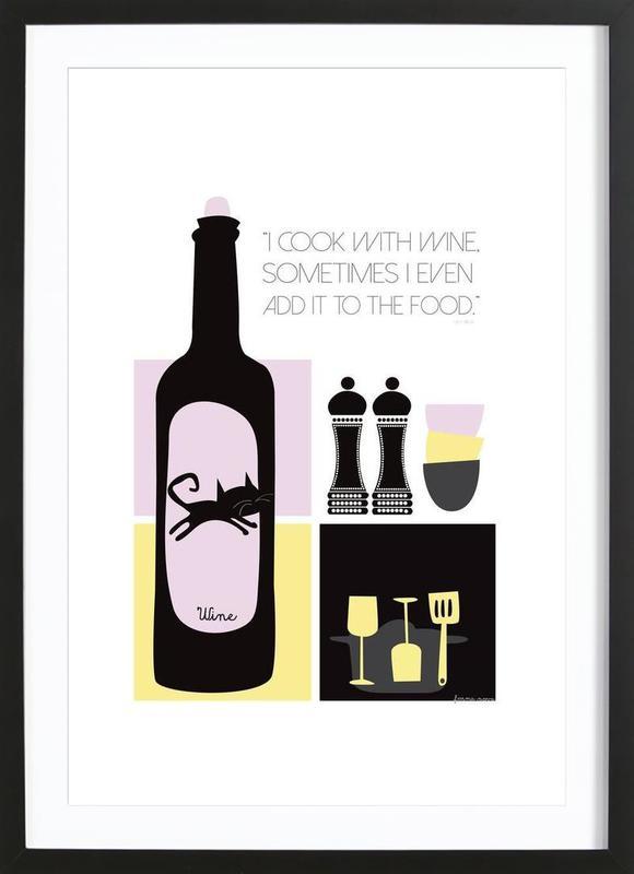 I Cook With Wine Framed Print