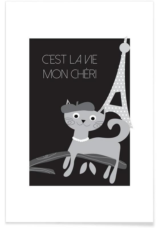 Katzen in Paris - minimalistisch -Poster