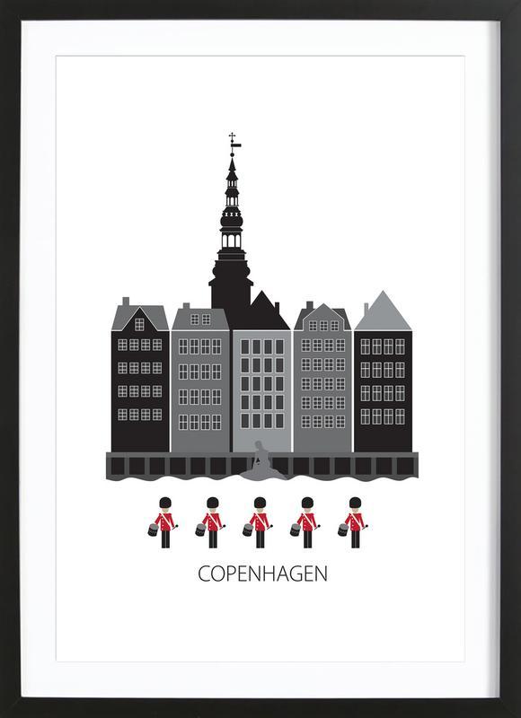 Copenhagen affiche sous cadre en bois
