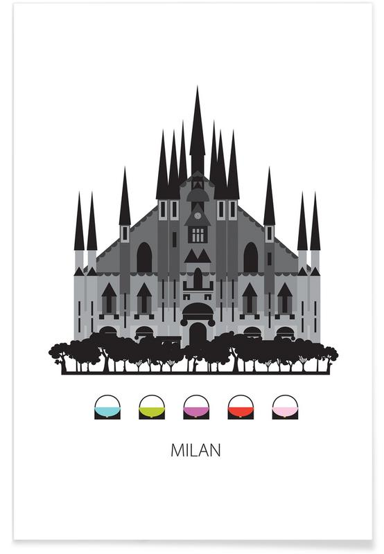 Milaan, Bezienswaardigheden en monumenten, Milaan - minimalistisch poster