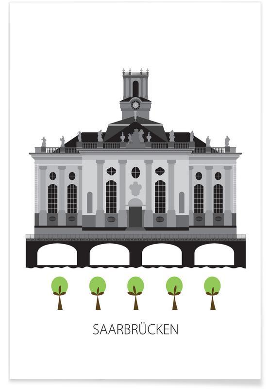 Saarbrücken – minimalistisch -Poster