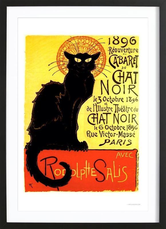 Chat Noir -Bild mit Holzrahmen