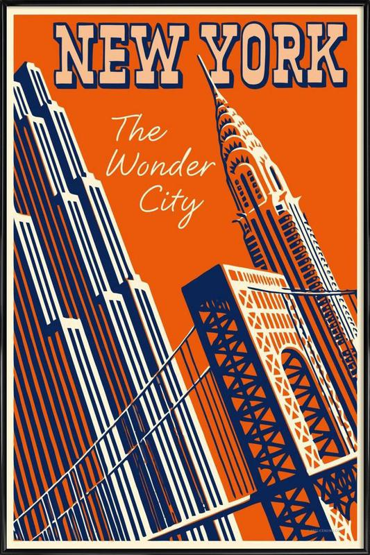 NY The Wonder City affiche encadrée