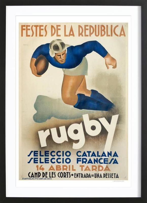 Rugby -Bild mit Holzrahmen