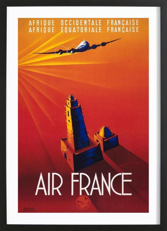 Air France to Africa affiche sous cadre en bois
