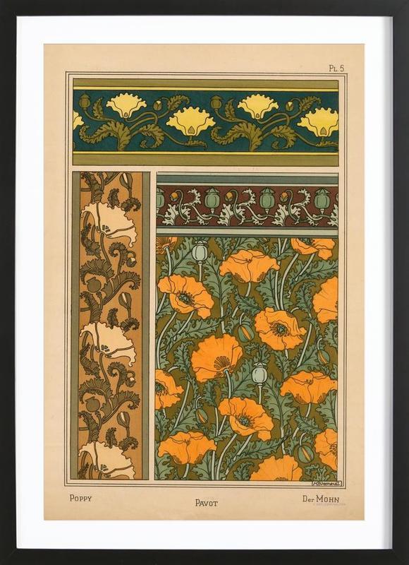 Eugene Grasset - Poppy 05 affiche sous cadre en bois