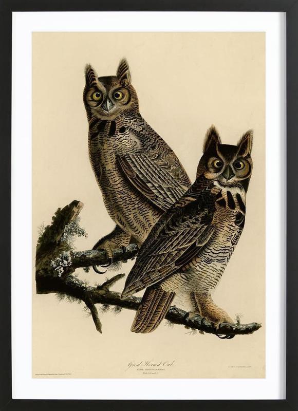 Great Horned Owl -Bild mit Holzrahmen