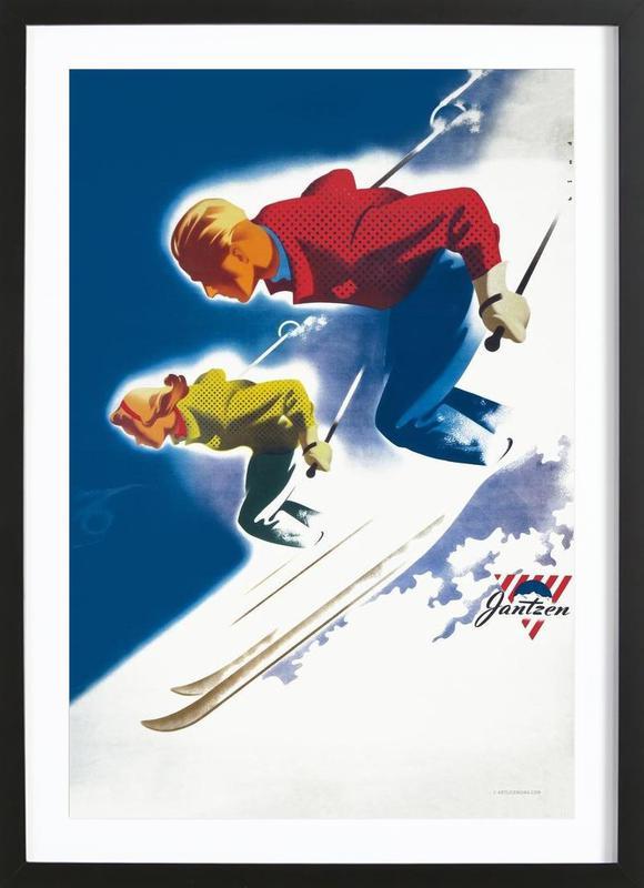 Jantzen by Binder, Man and Women, Ski 1947 Framed Print