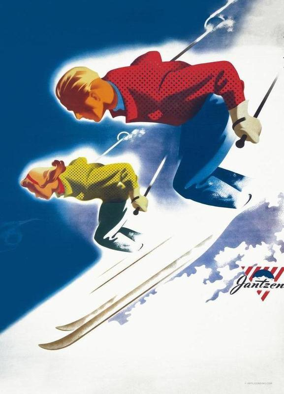 Jantzen by Binder, Man and Women, Ski 1947 Canvas Print