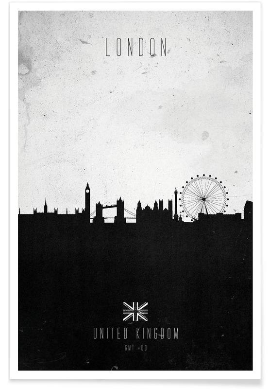 Noir & blanc, Skylines, Londres, London Contemporary Cityscape affiche