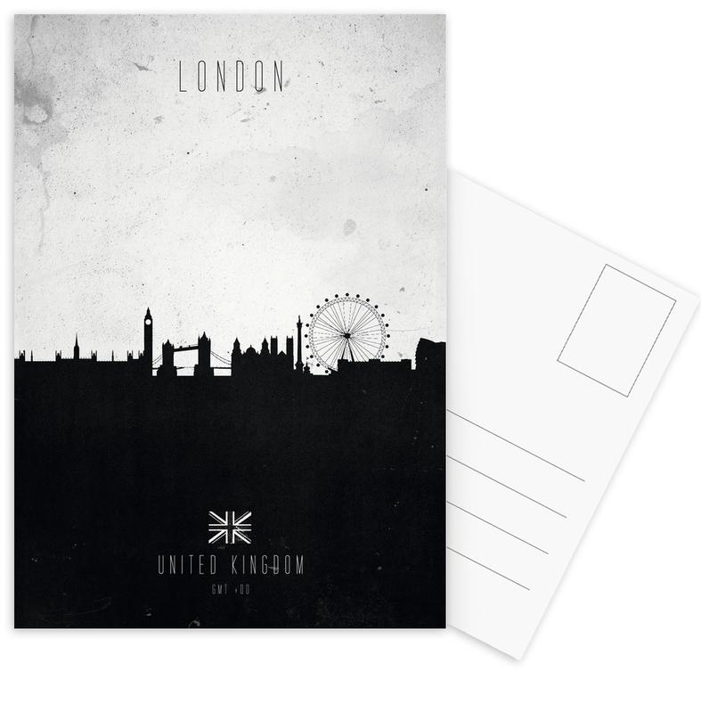 London, Skylines, Schwarz & Weiß, London Contemporary Cityscape -Postkartenset