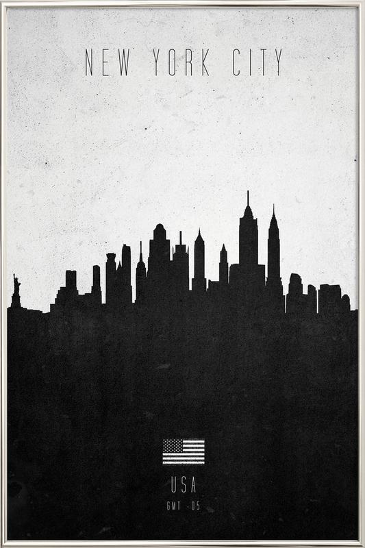 New York City Contemporary Cityscape Poster in Aluminium Frame