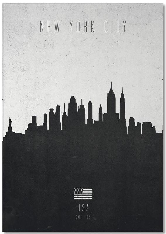Skylines, New York, Noir & blanc, New York City Contemporary Cityscape bloc-notes